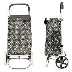NEUDORF® Einkaufstrolley (grau/schwarz)/ leichte robuste wetterfeste Alu-Konstruktion & Tasche (ca.45L Stauraum)/ große leichtläufige Räder (Ø20cm, gummiert, geräuscharm)-leichtes Stufensteigen/ 2,2Kg
