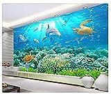Papier peint pour chambre Monde sous-marin Dolphin 3D Fond de tortues de mer 3D Photo Papier Peint 3D Faux Cuir Vinyle Mural-300cm×210cm