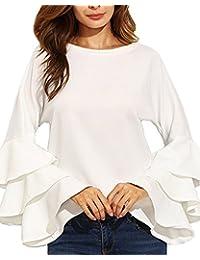 StyleDome Mujer Camiseta Mangas Largas Volantes Blusa Playa Elegante Oficina Casual