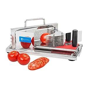 Coupe Tomates Trancheuse à Fruits Professionnelle Couteau de Cuisine Couper Hacher (Acier inoxydable, Protection pour mains, Épaisseur des tranches: 5,5 mm) Royal Catering RCTC-5