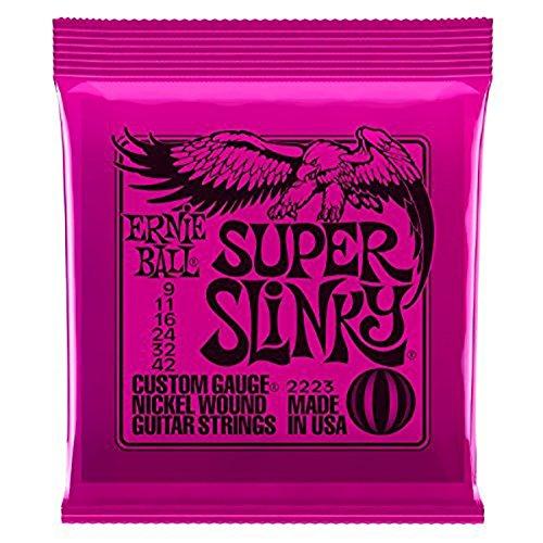 Ernie Ball Super Slinky Saiten für E-Gitarre (9-42)-inklusive 6gratis Peavey Plektren