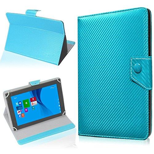 NAUC Tasche Hülle für ODYS Ieos Quad 10 Pro Schutzhülle Tablet Cover Case Bag Etui, Modellauswahl:Türkis Carbon-Erscheinungsbild Magnetverschluss