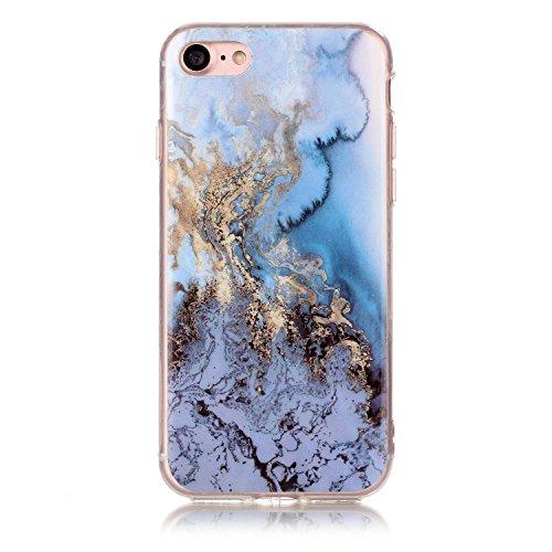 iPhone 7 Plus Hülle Silikon, LuckyW TPU Marmor Handyhülle für Apple iPhone 7 Plus/7S Plus(5.5 zoll) Soft Silikon Tasche Transparent Schale Clear Klar Hanytasche Durchsichtig Rückschale Ultra Slim Thin Blau