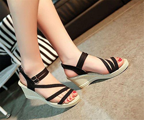 Wealsex keilabsatz sandalen damen Schwarz