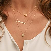 fxmimior multicapa collar Metal Dorado Lentejuelas capa larga cadena de oro de Gargantilla declaración accesorios para mujer Girl