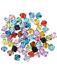 HOUSWEETY 1000 Mix Doppelkegel Perlen Bicone Rhomben Facettiert Beads Acrylperlen 6x6mm