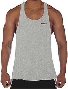Candish Hombre Tirantes Stringer para entrenamiento sin mangas para gimnasio T Shirt, hombre, Mvest, gris