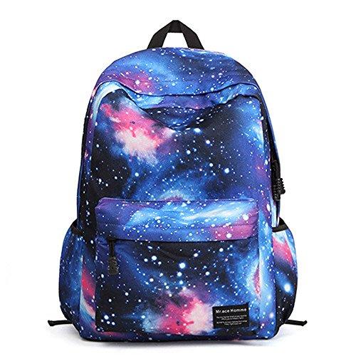 Minetom Sac À Dos Loisir Multi-Fonction Voyages Scolaire Backpack Femme Coloré Galaxie Univers Étoiles Fermeture Nylon Bleu