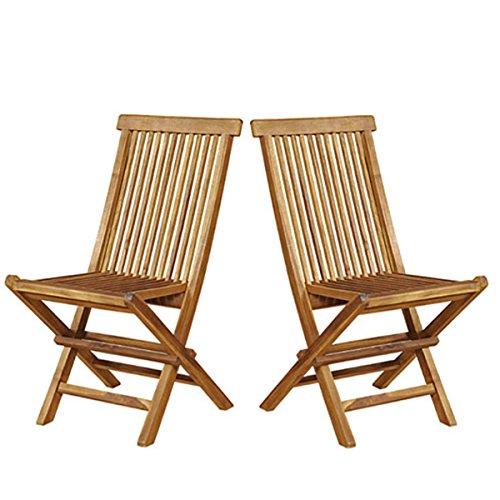Lot de 2 chaises de jardin pliantes en bois de teck huilé