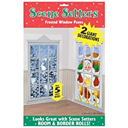 Vinyl Santa Claus Snowy Frosted Windows Christmas Decorations Scene Setter Party Add-ons Plastic Decorations 1.65m X 85cm