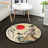 Mnsruu Tapis Rond en Bambou pour Salon ou Chambre à Coucher Motif Geisha Japonais Diamètre 92 cm