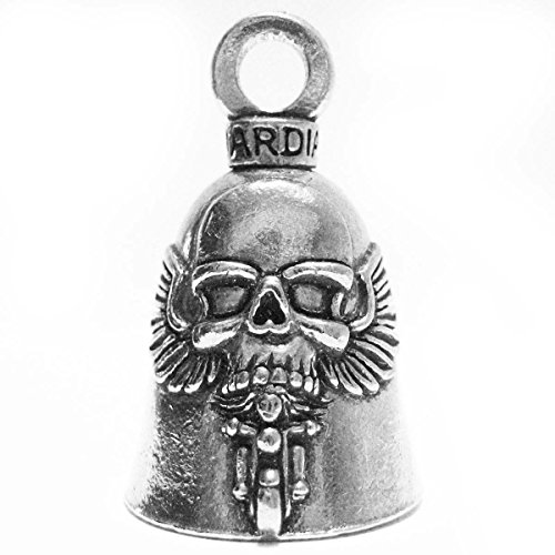 GUARDIAN BELL Guardian® Ghost Rider Schädel auf Motorrad Biker Luck Gremlin Riding Bell oder Schlüssel Ring (Rider Ghost Schädel)