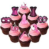 Ann Summers - Pack para fiesta de adultos, adornos Sexys y comestibles para cupcakes–oblea de decoración para tartas, Pack of 36