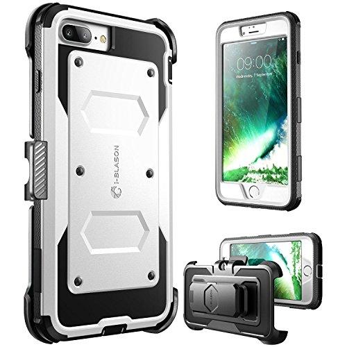i-Blason iPhone 7 Plus Hülle, iPhone 8 Plus Hülle Armorbox Outdoor Case Handyhülle mit eingebautem Displayschutz und Gürtelclip, Weiß -