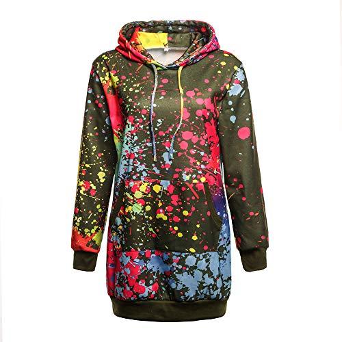 NPRADLA 2018 Pullover Damen Elegant Locker Lang Mode Frauen Sweatshirt Kapuzen Mantel Bluse Tops Bunte Krawatte Färben Druck(Grün,XL/EU Gr.46)
