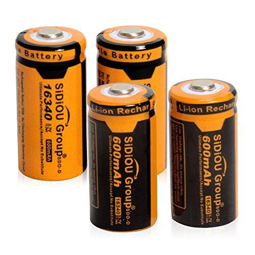 Preisvergleich Produktbild Sidiou Group 16340 Lithium-Ionen-Batterie-Schutz 3,7 V 600mAh Akku für LED-Taschenlampe (Ein Set aus 4 Stück)