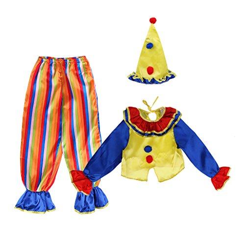 MagiDeal Clown Kostüm Set Jungen Zirkuskostüm inkl. Hut Jacke und Hose für Halloween Cosplay Party - M