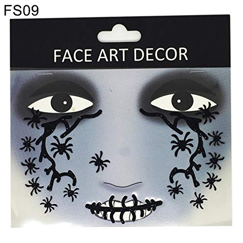 Kostüm Medusa Einfach - LEUM SHOP mothcattl Gesicht Dekor Glitzer Tattoo-Sticker Halloween Party Stage Makeup Prop FS09