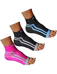 NAK Fitness - Chaussettes de compression pour fasciite plantaire - soutien des chevilles/support de la voûte plantaire