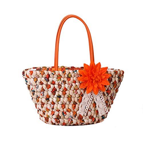 Mitlfuny handbemalte Ledertasche, Schultertasche, Geschenk, Handgefertigte Tasche,Frauen-Blumen-Dekoration-Stroh-Beutel-beiläufige wilde Ferien-Webart-Crossbody-Tasche -