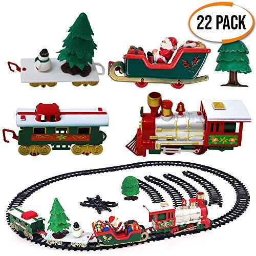 Set trenino di natale - confezione da 22 - elettrico con luci e suoni realistici - treno giocattolo regalo ideale per albero di natale decorations e compleanni