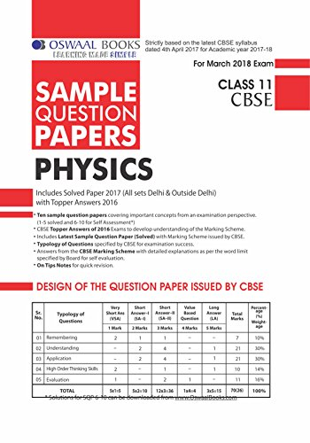 Oswaal CBSE Sample Question Papers For Class 11 Physics (Mar 2018 Exam)