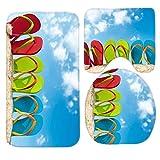 RedBeans Badteppich-Set, 3-teilig, Rutschfeste Badezimmerteppich/Konturmatte/WC-Abdeckung von Teaya