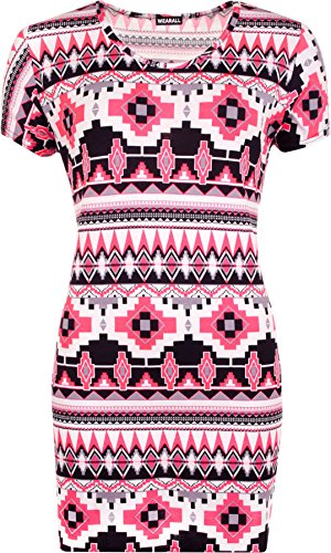 WearAll - Femmes Grandes Tailles manches courtes Neon imprimé aztèque Robe longue Haut - Femmes - Hauts - Tailles 42-58 Rose