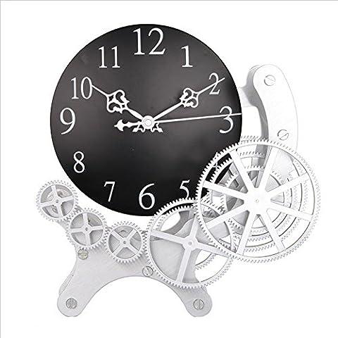 H&M Horloge murale dynamique équipement mécanique moderne équipement métallique accessoires de maison horloge murale silencieuse horloge pivotante haut de gamme , 1