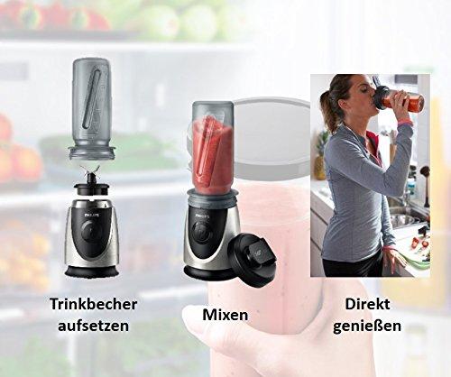 Philips-HR287600-Mini-StandmixerSmoothiemaker-22000-UMin-4-Messer-350-Watt-inklusive-Trinkbecher-Zerkleinerer-chrom