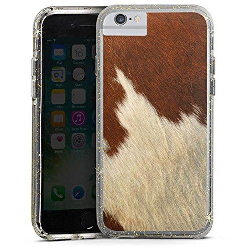 Apple iPhone X Bumper Hülle Bumper Case Glitzer Hülle Kuhfell Look Tiere Animals Bumper Case Glitzer gold