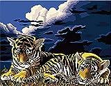 FSKJSZYH Rahmenlose DIY Tiger Animal Night Lawn Malen Nach Zahlen Malen Nach Zahlen Abstract...