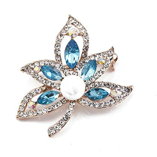 Beglie Damen Broschen Pins Vergoldet Maple Leaf Perle Weiß Blau Braut Hochzeit Blumenbrosche Schmuck Geschenke für Frauen