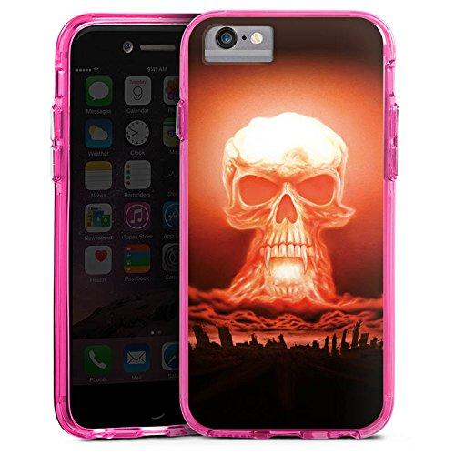 Apple iPhone X Bumper Hülle Bumper Case Glitzer Hülle Explosion Skull Totenkopf Bumper Case transparent pink