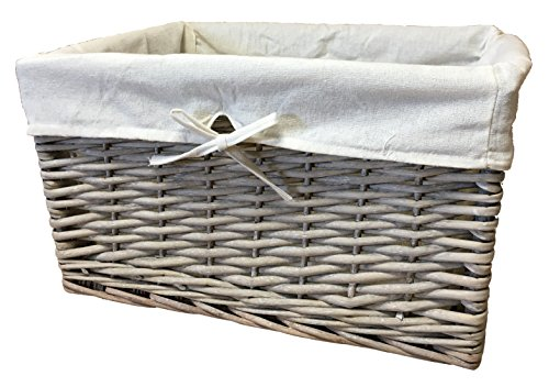 The Pescara Collection Tief Abfalltonne grau Korb 100% ganze Weide. Groß Weidenkorb Größe 3mit herausnehmbarem Futter (Tief Rattan Korb)