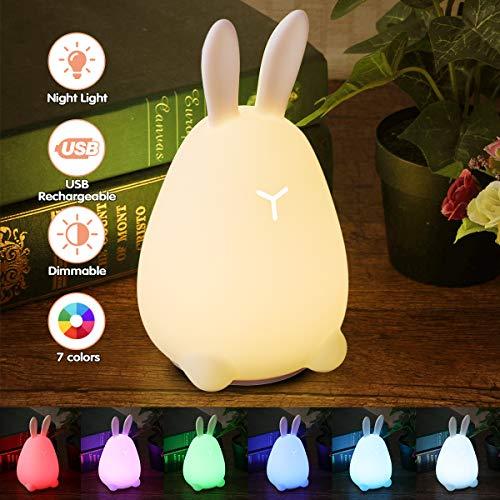 LED Nachtlicht Kinder, Elfeland Nachtleuchte LED Nachtlampe Baby Lampe Nachtlichter Schlummerleuchte Stimmungslichter 7 Farben Dimmbar USB Nachttischlampe für Kinderzimmer Babyzimmer Schlafzimmer