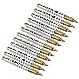 Fdit Set di Colori acrilici 12PCS modalità Impermeabile Colore Metallizzato Craftwork Penna Vernice Oro e Argento Pennarello per Pneumatici Superficie Metallica CD in Vetro Golden