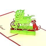 medigy 3d Pop Up Tarjeta de felicitación para nuevos padres recién nacido Bebés Regalos bassinet, color verde
