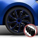 Autoteppich Stylers (Größe wählbar) Bundle 16' 16 Zoll Radkappen/Radzierblenden RK2 Bicolor (Schwarz-Blau) passend für Fast alle Fahrzeugtypen – universal