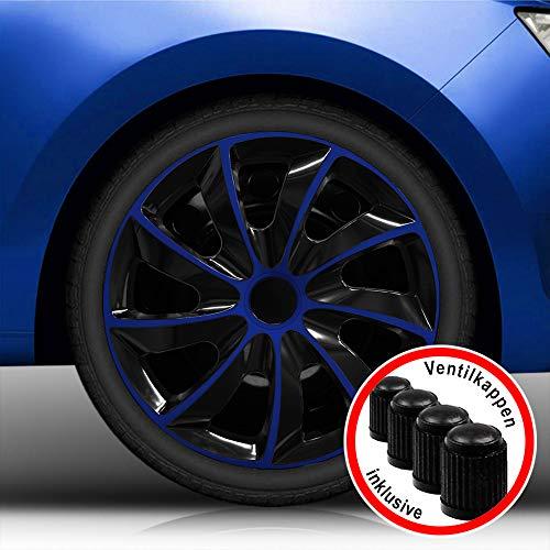 """Autoteppich Stylers (Größe wählbar) Bundle 16"""" 16 Zoll Radkappen/Radzierblenden RK2 Bicolor (Schwarz-Blau) passend für Fast alle Fahrzeugtypen – universal"""