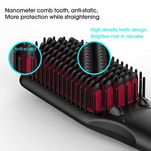 2 en 1 Brosse Lissante Fer à lisser avec technologie ionique élément chauffant MCH et fonction de verrouillage de la température Anions pour la protection de cheveux Anti-Statique