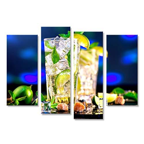 bilderfelix® Bild auf Leinwand Mojito-Cocktail auf einem Tisch. Sommercocktail mit Rum, Kalk, Minze, Eiswürfeln und braunem Zucker Wandbild, Poster, Leinwandbild KVU -