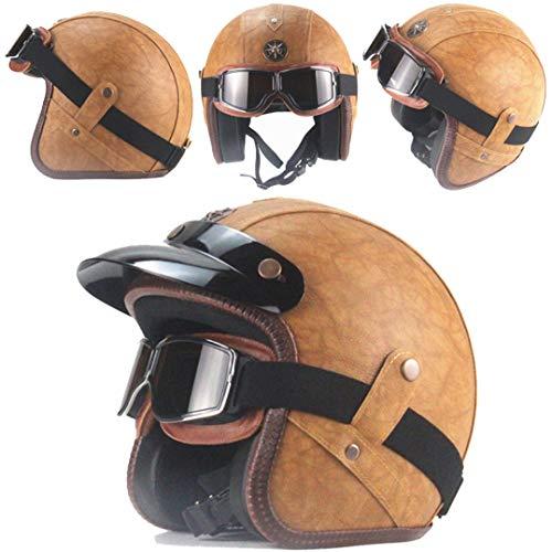 OLEEKA Casco in pelle artificiale 3/33 Casco moto chopper Casco Caschi moto vintage con maschera di protezio