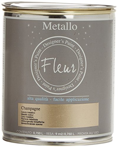 Fleur Paint 13241 - Pintura mineral metalizada (base agua, 750 ml) color champagne