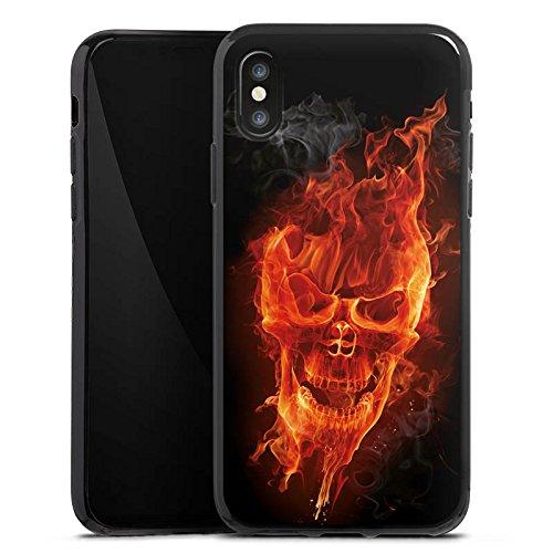Apple iPhone 6 Hülle Case Handyhülle Totenkopf Feuer Rocker Silikon Case schwarz