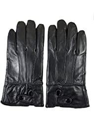 QHGstore Guantes de piel de oveja genuino de los hombres de cuero de invierno guantes calientes Un par de dedo suave
