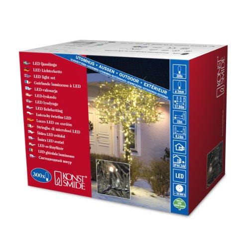 Konstsmide 3616-110 Micro LED Lichterkette 300 warm weiße Dioden / 24V Außentrafo / schwarzes Kabel