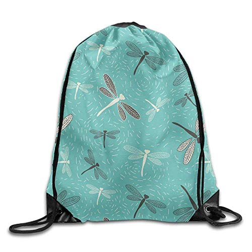 Dragonfly Pattern Print Drawstring Backpack Rucksack Shoulder Bags Gym Bag Sport Bag -