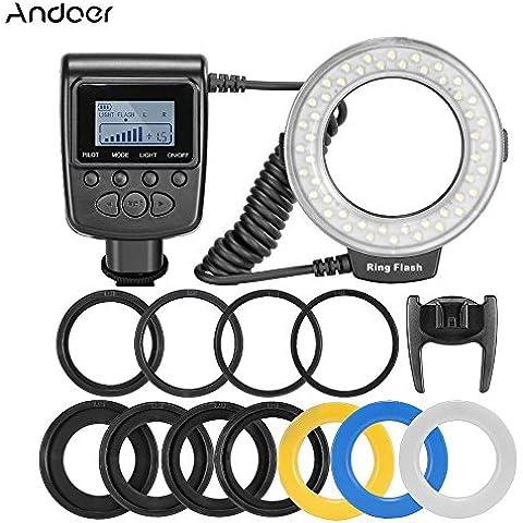 Andoer RF-550D 48LED Marco Anillo Flash LCD Pantalla Control de Poder para Canon Nikon Pentax Olympus Panasonic Sony DSLR