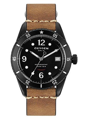 Oxygen–Reloj Hombre Acero–Esfera Negro–Correa de piel marrón claro–Diver 42Timor l-d-tim-42